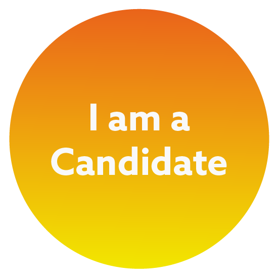 Orange and yellow circle with the words I am a Candidate in the middle