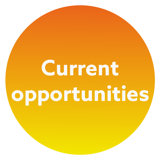 Orange and yellow circle with the words Current opportunities in the middle