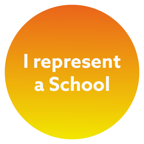 Orange and yellow circle with the words I represent a school in the middle