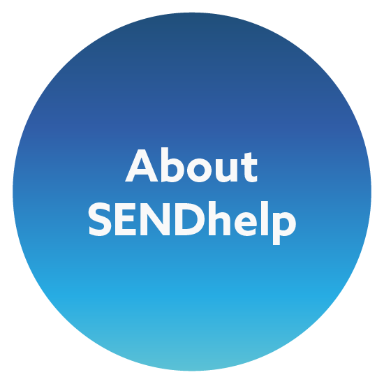 Blue gradient circle with the words About SENDhelp in the middle