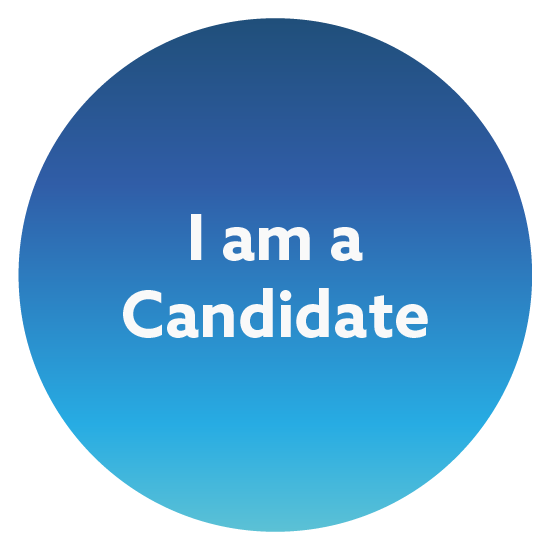 Blue gradient circle with the words I am a Candidate in the middle