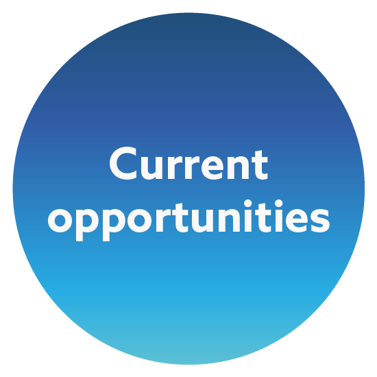 Blue gradient circle with the words Current Opportunities in the middle